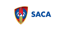 Blue, red and yellow SACA logo
